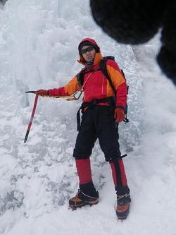 ジョウゴ沢F1で雪上歩行訓練