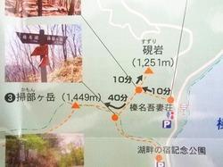 榛名山の掃部ヶ岳の木道は歩きにくいので慎重に