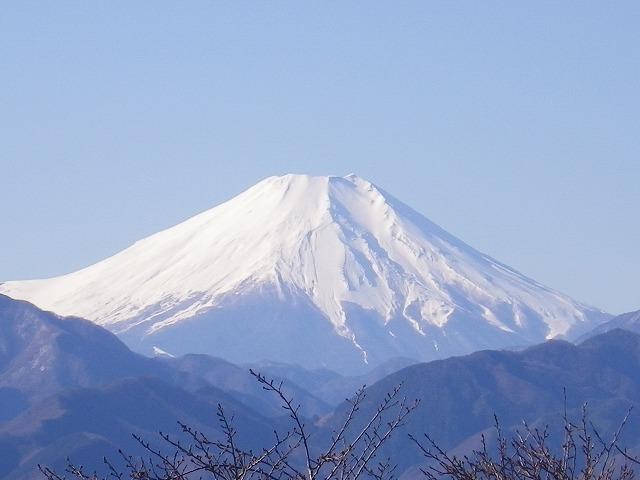 高尾山山頂から見える富士山